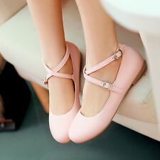 Sweet Womens Round Toe Ballet Flats Cross Straps Cute Girls Casual Shoes AU