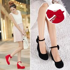 Womens Bowknot Wedge High Heels Pumps Platform Ankle Strap Round Toe Shoes AU