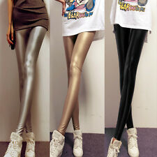 Sexy Womens Faux Leather Wet Look Leggings Stretch Trouser High Waisted Pants