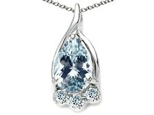 Pear Shape 7x5mm Aquamarine Pendant Necklace