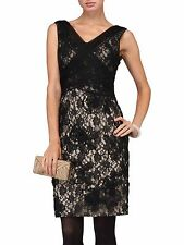 New Phase Eight Black & Nude  Lace Gloria Embroidered Dress Sz UK 10 rrp £140