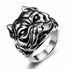 Fashion Punk Bulldog Sharpei Stainless Steel Ring Mens Boys Band Size 7-12 New