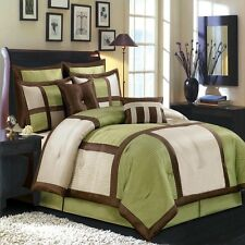 8pc Luxury Sage Green Comforter Set Bed in a Bag with Euro Shams AND Pillows