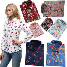 Womens Floral Pattern Fit Printed Shirts 100% Cotton Casual Long Sleeve Shirts