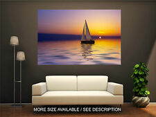 Wall Art Canvas Print Picture Sailing Boat Lake Sunset-Unframed