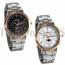 Men's Ultrathin Silver Tone Round Dial Stainless Steel Band Quartz Wrist Watch