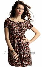 Fashion Casual Calico Low Round-neck Women's Floral Skirt Short Sleeve Unbrand