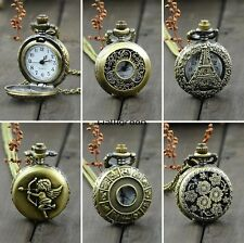 WN New Antique Vintage Bronze Tone Pocket Chain Quartz Pendant Watch Necklace