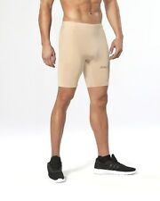 2XU Mens MCS Football 1/2 Compression Shorts (Beige/Gold) | BUY NOW!