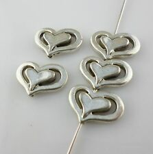 32/250pcs Tibetan Silver10x14mm Heart Spacer Beads