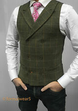 MENS WOOL BLEND DOUBLE BREASTED TAILORED FIT OLIVE TWEED CHECK WAISTCOAT VEST
