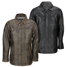 Mens Soft Real Leather Smart Casual Collar Classic Zip Box Jacket Black Brown