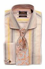 Dress Shirt by Steven Land Spread collar & French Cuff-Brown-TA1632-BR