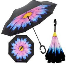 C-Shaped Hands free Double Handle Layer Windproof Inverted Folding Umbrella /