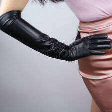 "Real Leather 20"" 50cm Long Gloves Black Genuine Lambskin Sheepskin Opera Evening"