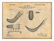 1900 Jai Alai Cesta Basket Bat Patent Print Art Drawing Poster 18X24