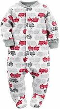 Carter's Baby Boy's Fleece  Blanket Sleeper NWT Sizes 3M  6M or 9M  Fire Engines