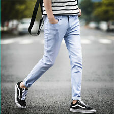 New Men's Fashion Straight Denim Slim Fit Pants Pencil Trousers Washed Jeans 05,