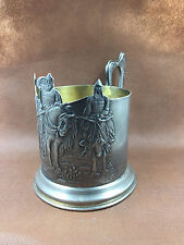 """Vintage Russian Solid Silver Tea glass holder """" Three Heroes """""""
