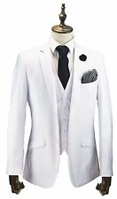 Mens All White 3 Piece Suit Wedding Prom Party Blazer Waistcoat Trousers