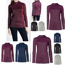 Womens Ladies Lurex Knitted Polo Neck Ribbed Jersey Top High Neck Top Plus Size