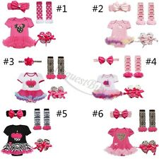 Newborn Infant Baby Girls Headband+Tutu Romper+Leg Warmers+Shoes Outfit Clothes