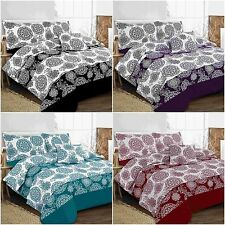 Floral Leaf Megan 5PC Bed in a Bag Duvet Cover Set &pillowcase+Runner+Cushion