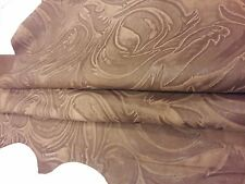 Lambskin Genuine Leather Hide Embossed Classic Damask Brown 2 oz. Beautiful Hide