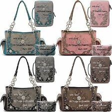 Cowgirl Trendy Country Purse Cross Scripture Handbag Bible Cover Wallet 3in1 Set