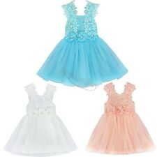 NEW GIRLS Baby Toddler Kid's Spaghetti Strap Floral TUTU Party Wedding Dress