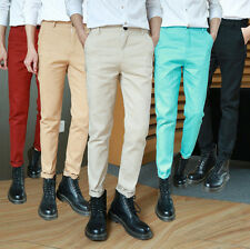 Mens Trousers Slim Fit Casual Suits Cotton Straight Classic Luxury Formal Pants