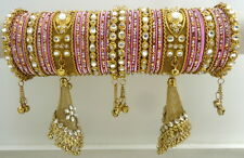 LAVENDER CZ PEARL GOLD TONE TRADITIONAL BOLLYWOOD BANGLE SET CHURI JEWELRY