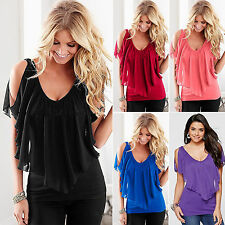 Womens Summer Chiffon Tops Blouses Off Shoulder Ladies V-neck Casual T-Shirts
