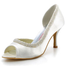 EL-005 High Heel Pump Peep Toe Beading Platform Satin Wedding Party Shoes AU4-11