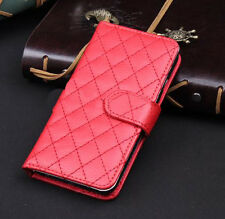Red Wallet Case Grid Folio Soft Sheepskin PU Leather Case For S5{OH-281