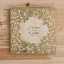 Gold Wedding Invitation Laser Cut Card CW5279 with Envelope, Seal, Free Custom