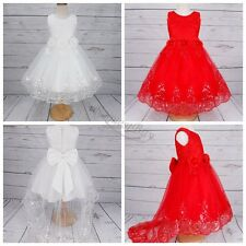 Flower Girl Kid Princess Party Pageant Wedding Bridesmaid Tutu Sequin Lace Dress