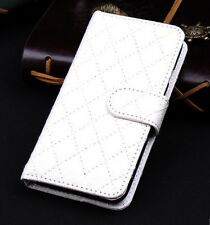 White Wallet Case Grid Folio Soft Sheepskin PU Leather Case For Note 3{OI-239