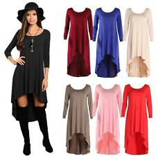 Women Loose Mini Dress Asymmetric Solid Long Sleeve O Neck Ruched Dress C4D3