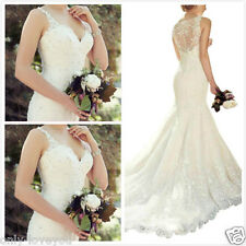 New White/Ivory Mermaid Lace Bridal Gown Wedding Dress Size 4 6 8 10 12 14 16 18