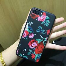 Luxury Fashion Rose Case fr iPhone 6 6S 7 Plus Plating Flower Pattern Back Cover