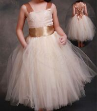 Flower Girl Princess Tulle Dress Kids Party Pageant Wedding Bridesmaid Ball Gown