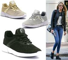 Womens Glitter Lace Up Canvas Trainers Ladies Sports Flats Pumps Size