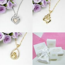 Gold Plated Mum Mother and Child Baby Pendant Necklace Gift Boxed