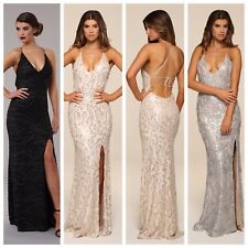 Honor Gold Luxe Gia Sequin Maxi Evening Dress Backless Long Ball Prom Gown