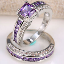 2pcs/set 925 Silver 2.5ct Amethyst Women Wedding Engagement Ring Set Gift Sz6-12