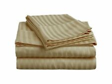 US QUEEN SIZE TAUPE 4PC SATEEN STRIPE EGYPTIAN COTTON TOUCH BEDDING COLLECTION