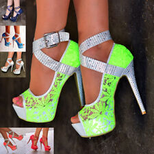 Womens Studded Lace Ankle Strap Shoes Ladies Platform High Heels Peep Toe Size