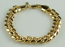 Mens 18K Yellow Gold Filled Cuban Link Bracelet 12MM Solid
