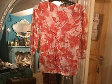 NEXT SIZE 10 CORAL-WHITE 3 QUARTER SLEEVE FRILLED FRONT TOP PARTY HOLIDAYS SMART